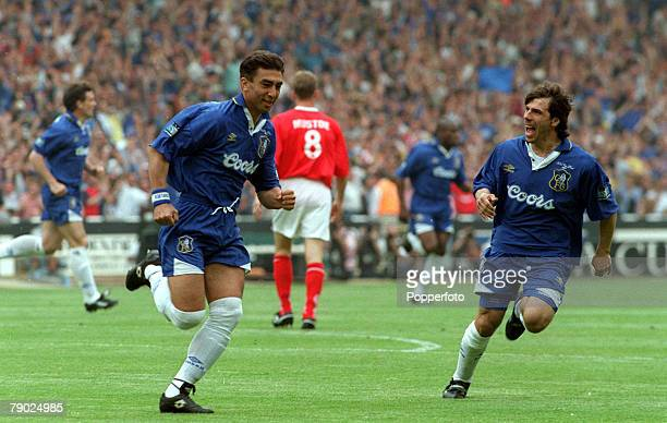 Football 1997 FA Cup Final Wembley 17th May Chelsea 2 v Middlesbrough 0 Chelsea's Roberto Di Matteo races away to celebrate after scoring the game's...