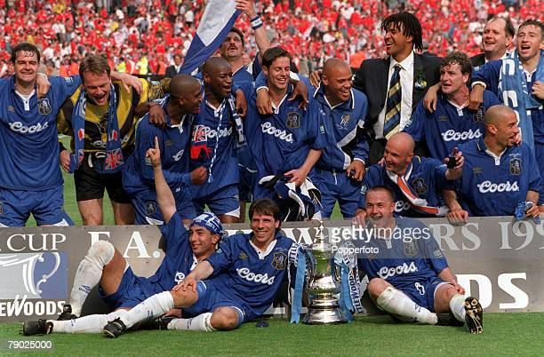 Football 1997 FA Cup Final Wembley 17th May Chelsea 2 v Middlesbrough 0 The Chelsea team celebrate with the trophy during celebrations after the match