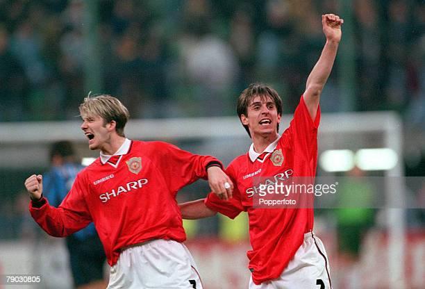 Football 1999 UEFA Champions League QuarterFinal Second Leg San Siro Stadium 17th March Inter Milan 1 v Manchester United 1 Manchester United's David...
