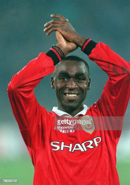 Football 1999 UEFA Champions League SemiFinal Second leg 21st April Turin Juventus 2 v Manchester United 3 Manchester United's Andy Cole celebrates...