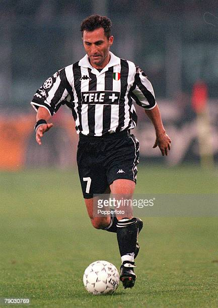 Football 1999 UEFA Champions League SemiFinal Second leg 21st April Turin Juventus 2 v Manchester United 3 Juventus' Angelo Di Livio