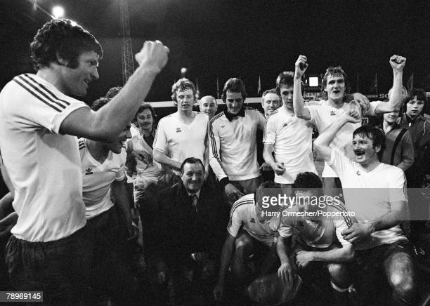 Football 19th May 1976 Bruges Belgium UEFA Cup Final Second Leg FC Bruges 1 v Liverpool 1 Liverpools John Toshack leads the celebrations with his...