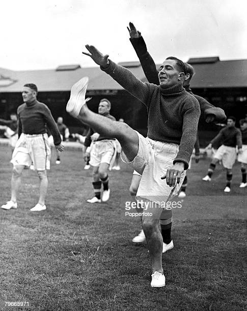 Football 1st August 1939 Vic Woodley the Chelsea and England goalkeeper stretches as he begins training for the new season at Stamford bridge