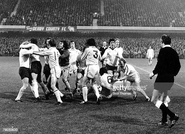 Football 1st November 1975 Derby County v Leeds United Both teams get involved in a mass brawl on the halfway line Leeds Uniteds Norman Hunter is...
