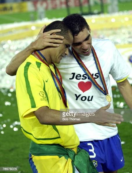 Football 2002 FIFA World Cup Final Yokohama Japan 30th June 2002 Germany 0 v Brazil 2 Brazil's Rivaldo celebrates victory with Lucio