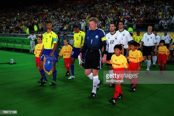 Football 2002 FIFA World Cup Finals Final Yokohama Japan 30th June 2002 Germany 0 v Brazil 2 Rival captains Cafu Brazil left and Germany's Oliver...