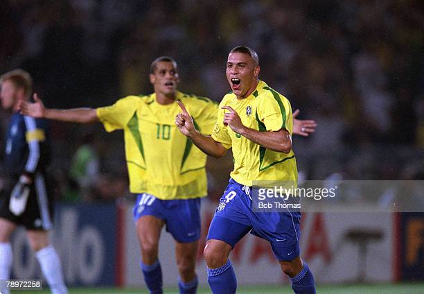 Football 2002 FIFA World Cup Finals Final Yokohama Japan 30th June 2002 Germany 0 v Brazil 2 Brazil's Ronaldo celebrates after scoring his second...