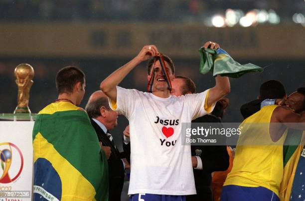 Football 2002 FIFA World Cup Finals Final Yokohama Japan 30th June 2002 Germany 0 v Brazil 2 Brazil's Edmilson celebrates with his winners medal at...