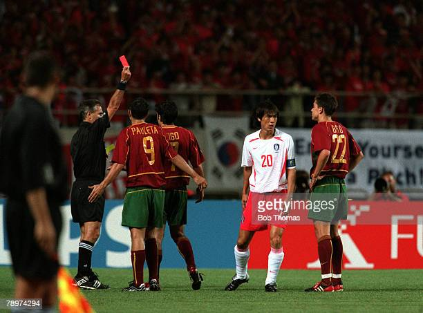 Football 2002 FIFA World Cup Finals Group D Incheon South Korea 14th June 2002 South Korea 1 v Portugal 0 Referee Angel Sanchez shows the red card to...