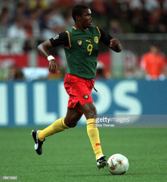 Football 2002 FIFA World Cup Finals Group E Shizuoka Japan 11th June 2002 Germany 2 v Cameroon 0 Cameroon's Samuel Etoo Credit POPPERFOTO/JOHN...