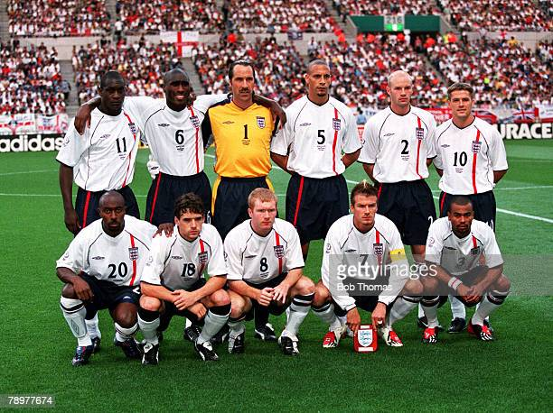 Football 2002 FIFA World Cup Finals Group F Saitama Japan 2nd June 2002 England 1 v Sweden 1 The England team line up together for a group photograph...