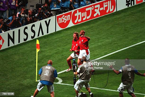 Football 2002 FIFA World Cup Finals Group F Sapporo Japan 7th June 2002 Argentina 0 v England 1 England's David Beckham celebrates after scoring from...