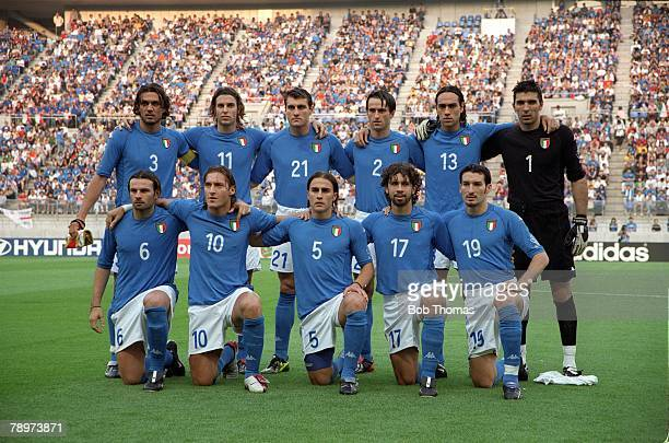 Football 2002 FIFA World Cup Finals Group G Ibaraki Japan 8th June 2002 Italy 1 v Croatia 2 Italy team group Back row leftright Paolo Maldini...