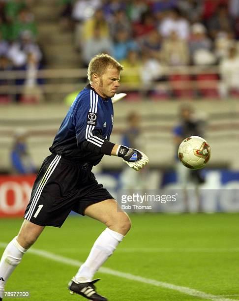 Football 2002 FIFA World Cup Finals Ibaraki Japan 5th June 2002 Germany 1 v Republic of Ireland 1 German goalkeeper Oliver Khan