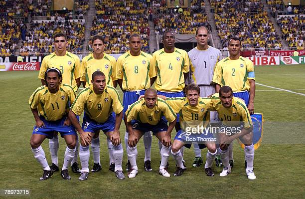 Football 2002 FIFA World Cup Finals Kobe Japan 17th June 2002 Brazil 2 v Belgium 0 Brazil Team Group LR Back Row Lucio Edmilson Gilberto Silva Roque...