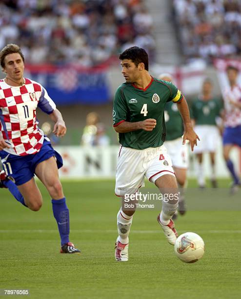 Football 2002 FIFA World Cup Finals Niigata Japan 3rd June 2002 Mexico 1 v Croatia 0 Rafael Marquez of mexico chased by Croatia's Alen Boksic