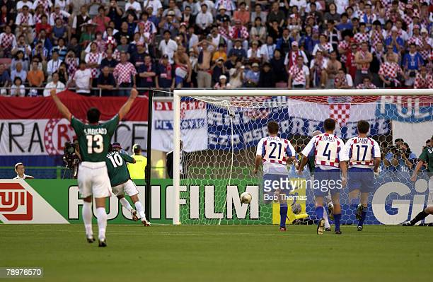 Football 2002 FIFA World Cup Finals Niigata Japan 3rd June 2002 Mexico 1 v Croatia 0 Cuauhtemoc Blanco scores from the penalty spot to win the game