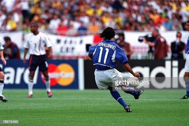 Football 2002 FIFA World Cup Finals Quarter Finals Shizuoka Japan 21st June 2002 England 1 v Brazil 2 Brazil's Ronaldinho scores the winning goal...