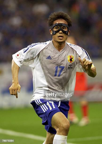 Football 2002 FIFA World Cup Finals Saitama Japan 4th June 2002 Japan 2 v Belgium 2 Tsuneyasu Miyamoto of Japan wearing a black face mask