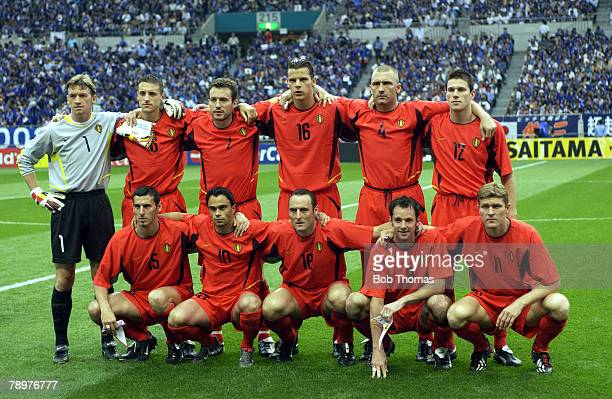 Football 2002 FIFA World Cup Finals Saitama Japan 4th June 2002 Japan 2 v Belgium 2 The Belgium team form a group prior to the start of the match LR...