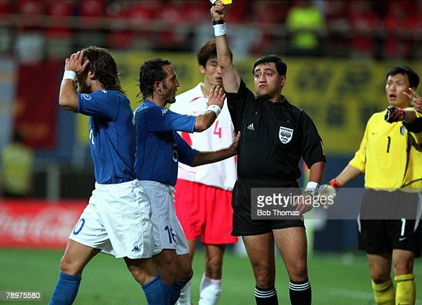 Football 2002 FIFA World Cup Finals Second Phase Daejeon South Korea 18th June 2002 South Korea 2 v Italy 1 Referee Byron Moreno shows a second...