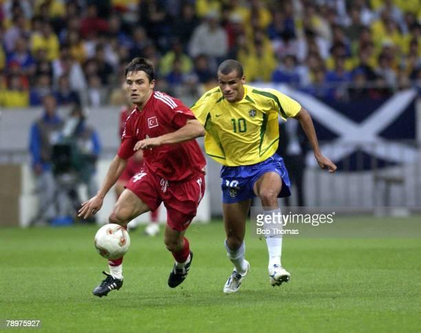 Football 2002 FIFA World Cup Finals Semi Final Saitama Japan 26th June 2002 Brazil 1 v Turkey 0 Fatih Akyel of Turkey chased by Brazil's Rivaldo