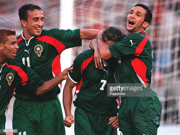Football 2002 World Cup Qualifier African Second Round Group C 30th June 2001 Rabat Morocco 1 v Egypt 0 Morocco's Moustafa El Hadji has scored the...
