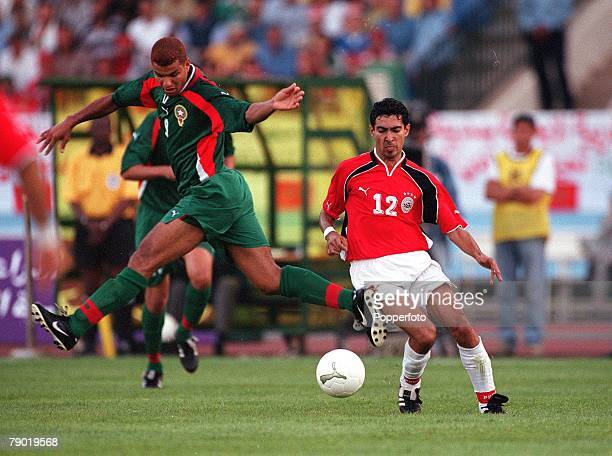 Football 2002 World Cup Qualifier African Second Round Group C 30th June 2001 Rabat Morocco 1 v Egypt 0 Morocco's Abdeljilil Hadda misses the ball as...