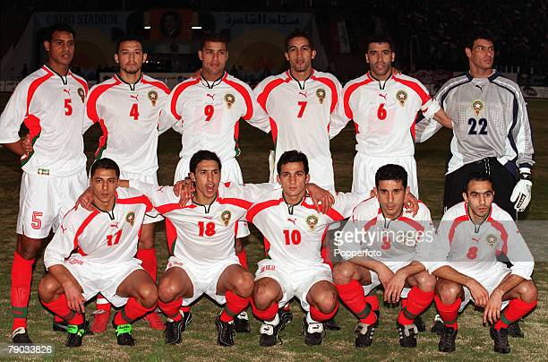 Football 2002 World Cup Qualifier African Second Round Group C Cairo 28th January 2001 Egypt 0 v Morocco 0 Morocco pose for a team group photograph...