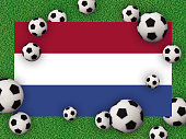 Football 2020. Netherlands flag with football balls on a grass background. Host of the European Championship. Netherlands, Amsterdam. Photography/3d render