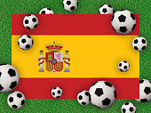 Football 2020. Spanish flag with football balls on a grass background. Host of the European Championship. Spain, Bilbao. Photography/3d render