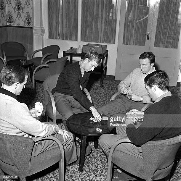 Football 20th February 1962 Norbreck Hydro England Playing cards are Manchester Uniteds LR Maurice Setters Bobby Charlton Nobby Stiles and Shay...
