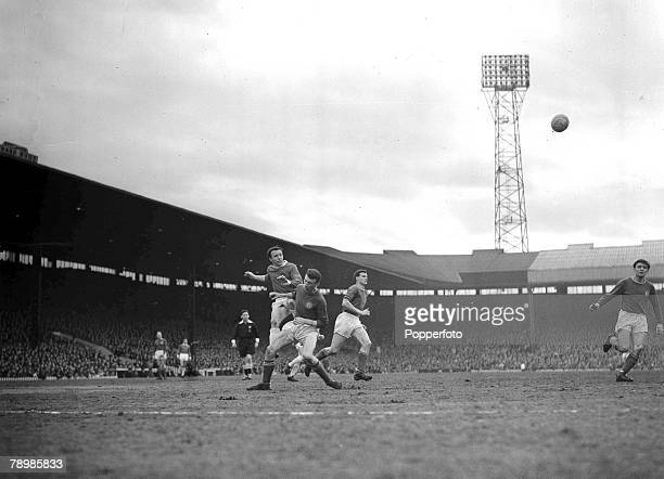 Football 20th March 1963 Old Trafford Manchester FA Cup 5th Round Manchester United 2 v Chelsea 1 Manchester Uniteds Nobby Stiles crosses the ball...