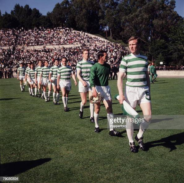 Football 25th May 1967 European Cup Final Lisbon Portugal Celtic 2 v Inter Milan 1 A picture of the captain Billy McNeill leading out his Celtic team