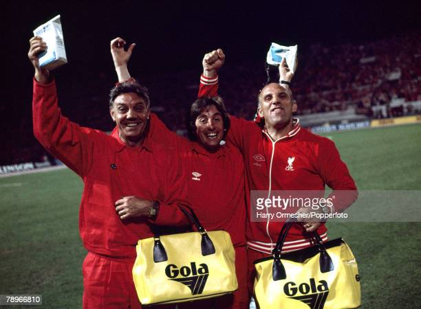Football 25th May 1977 Rome Italy European Cup Final Liverpool 3 v Borussia Moechengladbach 1 Liverpool FC backroom staff Joe Fagan Roy Evans and...