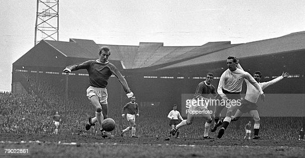 Football 26th March 1963 Old Trafford England Division One Manchester United v Tottenham Hotspur Manchester Uniteds Denis Law takes on the Spurs...