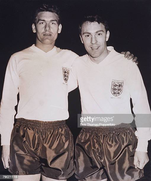 Football 27th February 1963 Parc Des Princes Paris European Nations Cup France 5 v England 2 Tottenham Hotspur teammates Ron Henry and Jimmy Greaves...