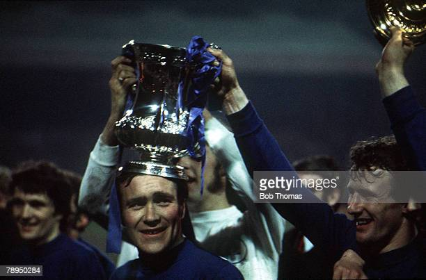 Football 29th April FA Cup Final Replay Old Trafford Manchester Chelsea 2 v Leeds United 1 Chelsea captain Ron 'Chopper' Harris holds aloft the FA...