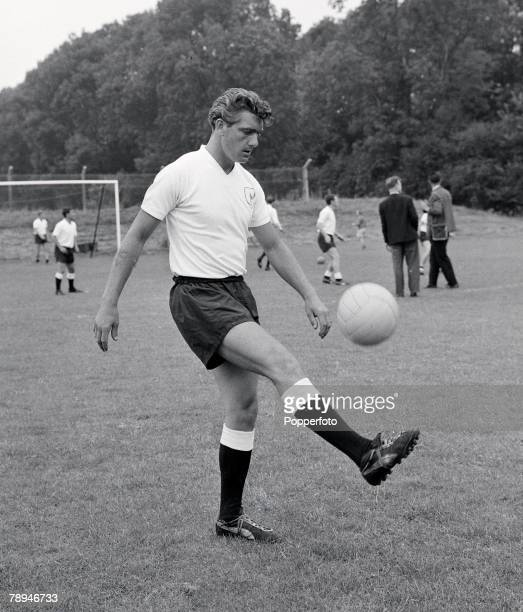 Football 2nd August 1963 Pre Season Training Tottenham Hotspur's Ron Henry practices with the ball