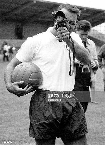 Football 2nd August 1963 Tottenham Hotspur and England player Jimmy Greaves walks off the pitch while filming on a Cine Camera
