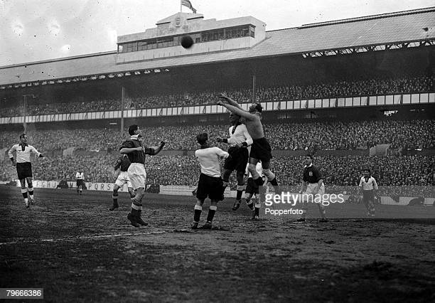 Football 4th December 1935 White Hart Lane London England 3 v Germany 0 Jakob the German goalkeeper clears from an England attack during the match at...