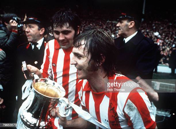 Football 5th April 1973 FA Cup Final Wembley Sunderland 1 v Leeds United 0 Sunderland's Ian Porterfield scorer of the only goal with Dennis Tueart as...