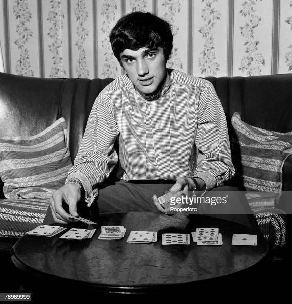Football 5th September 1964 Manchester England Manchester United's George Best relaxes at home playing cards