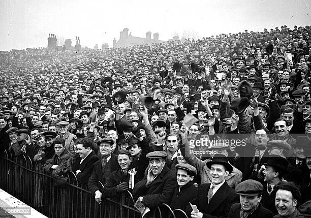 Football 8th January 1938 Highbury London England Arsenal v Bolton Wanderers A section of the huge crowd watching the match