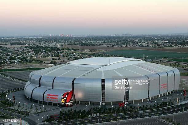 Aerial exterior view of University of Phoenix Stadium home of the Arizona Cardinals Glendale AZ CREDIT Gene Lower