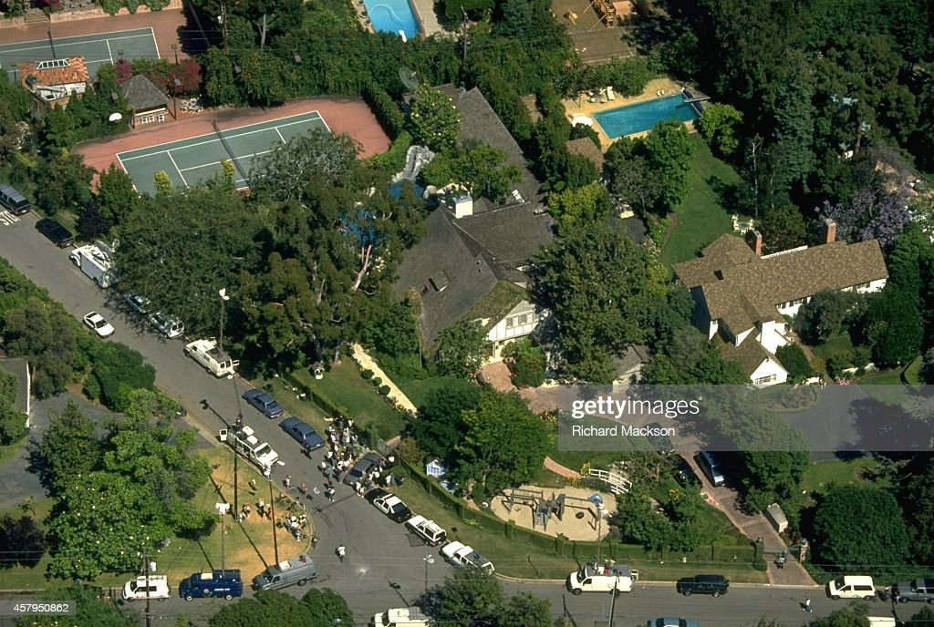 Aerial view shot from helicopter of home of O.J. Simpson, white Ford ...