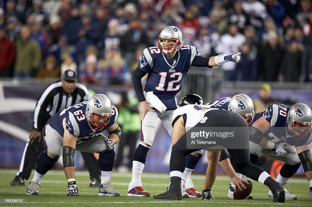 New England Patriots QB Tom Brady (12) calling signals during game vs Baltimore Ravens at Gillette Stadium. Al Tielemans F27 )