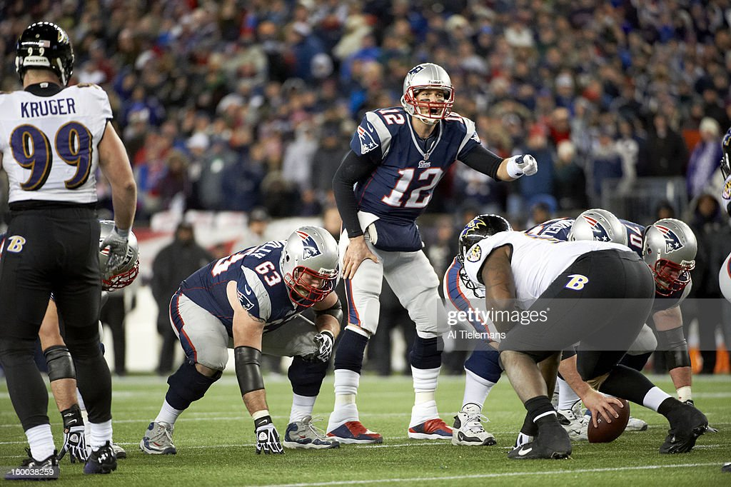 New England Patriots QB Tom Brady (12) calling signals during game vs Baltimore Ravens at Gillette Stadium. Al Tielemans F38 )