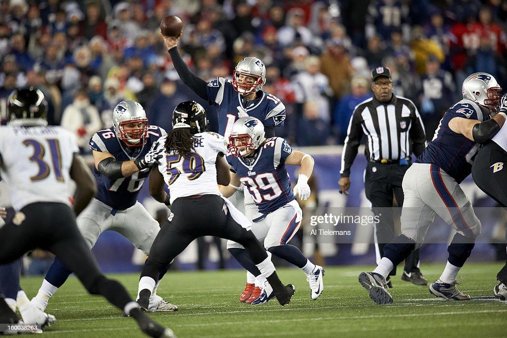 New England Patriots QB Tom Brady (12) in action, passing vs Baltimore Ravens at Gillette Stadium. Al Tielemans F21 )