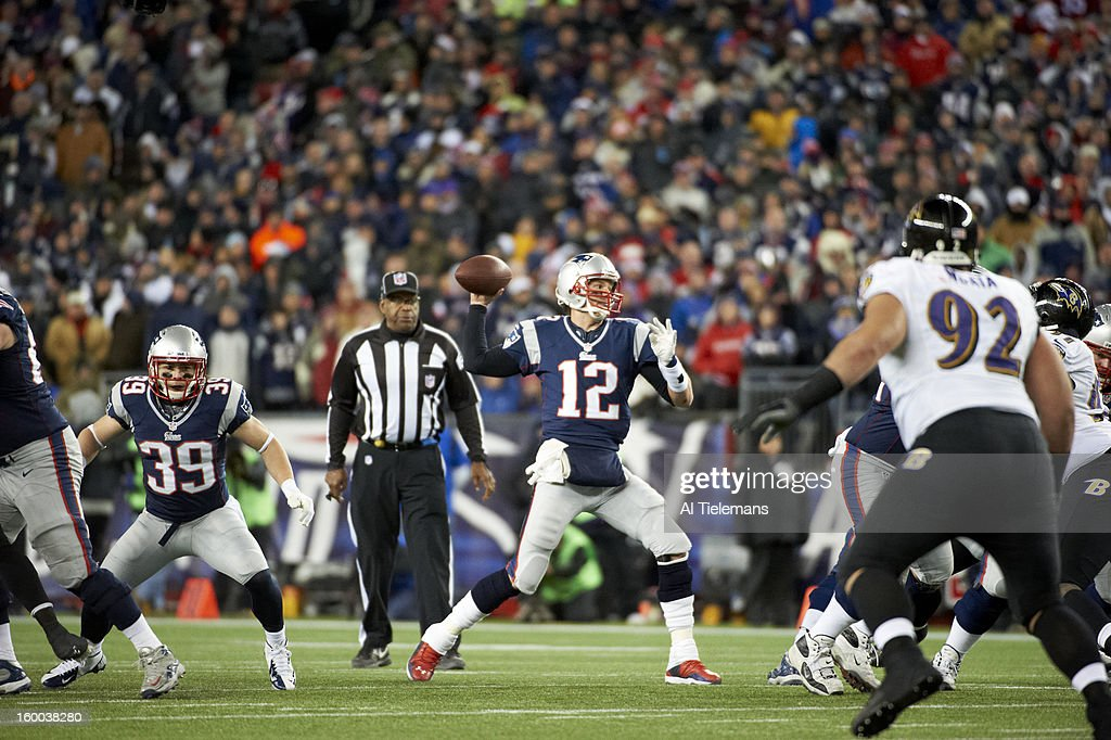 New England Patriots QB Tom Brady (12) in action, passing vs Baltimore Ravens at Gillette Stadium. Al Tielemans F23 )